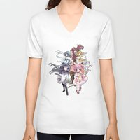madoka magica V-neck T-shirts featuring Puella Magi Madoka Magica - Only You by Yue Graphic Design