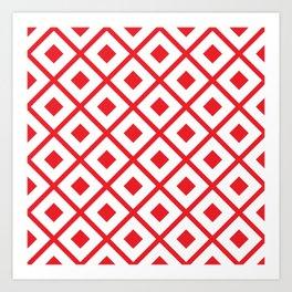 Candy Apple Red Abstract Diamond Print Pattern Art Print