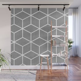 Light Grey and White - Geometric Textured Cube Design Wall Mural