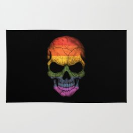 Dark Skull with Gay Pride Rainbow Flag Rug