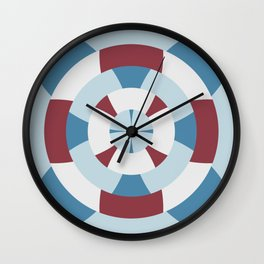 Simple geometric boat helm in blue and red Wall Clock