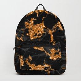 Halloween Glitter Orange And Ebony Black Marble Backpack
