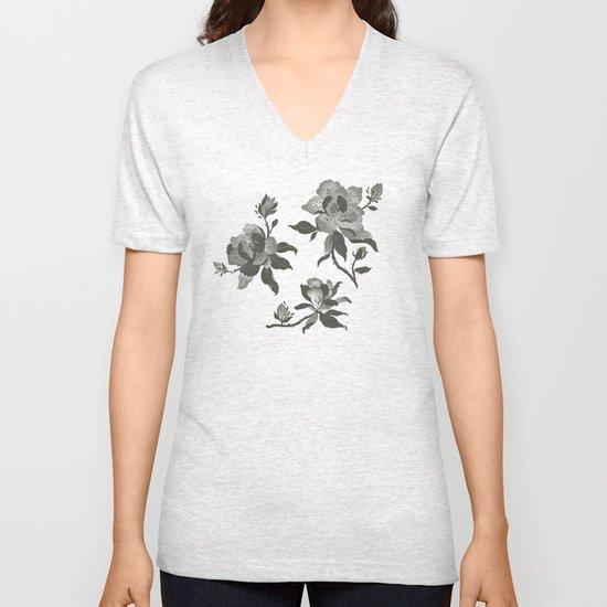 Black Magnolia Pattern Unisex V-Neck
