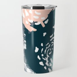 August - Abstract modern painting in bold colors for trendy feminine style Travel Mug
