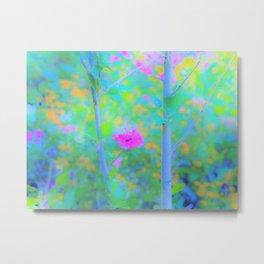 Pink Rose of Sharon Impressionistic Blue Landscape Garden Metal Print