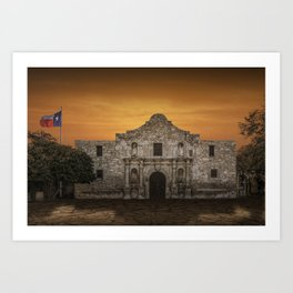 The Alamo Mission in San Antonio Texas with the Lonestar Flag Flying No.0256 A Fine Art Historical P Art Print