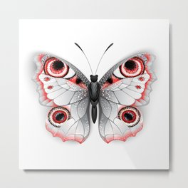 Gray Butterfly Peacock Eye Metal Print
