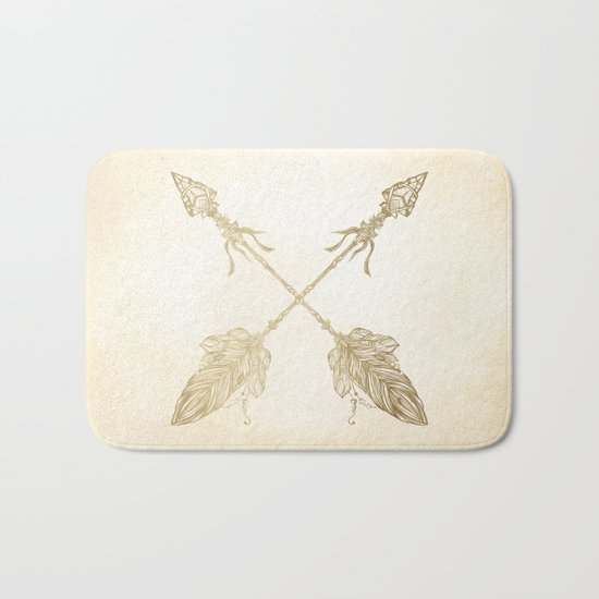 Tribal Arrows Gold on Paper Bath Mat