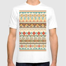 Aztec pattern 03 Mens Fitted Tee LARGE White