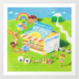 Milk Carton dessert store Art Print