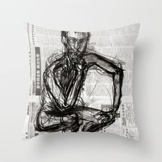 Instinctive - Charcoal on Newspaper Figure Drawing Throw Pillow