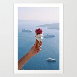 Hand holding melting ice cream in Santorini Art Print