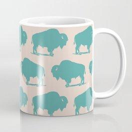 Buffalo Bison Pattern Turquoise and Beige Coffee Mug