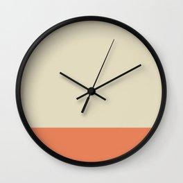 Minimalist Color Block Solid in Cream Beige and Light Pumpkin Orange Wall Clock