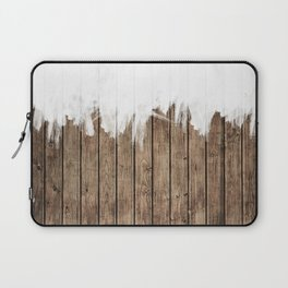 White Abstract Paint on Brown Rustic Striped Wood Laptop Sleeve