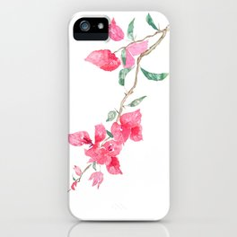 red  pink  bougainvillea watercolor iPhone Case