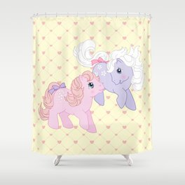 g1 my little pony babies Cotton Candy and Blossom Shower Curtain