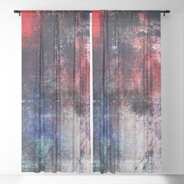 Modern Contemporary Red Abstract IntoDarkness Design Sheer Curtain