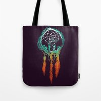 earth Tote Bags featuring Dream Catcher (the rustic magic) by Picomodi
