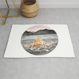 Campfire, Mountain Landscape, Camping Rug