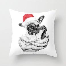 Festive Frenchie Throw Pillow