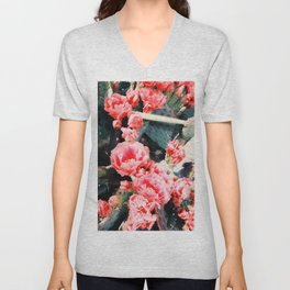 closeup blooming red cactus flower texture background Unisex V-Neck