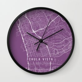 Chula Vista Map, USA - Purple Wall Clock