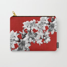 Lilies, Lily Flowers on Red Carry-All Pouch