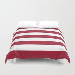 University of Alabama Crimson - solid color - white stripes pattern Duvet Cover