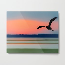 Seagull Sunset Abstract Metal Print