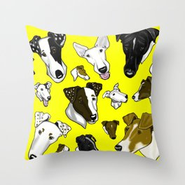 Smooth Fox Terrier -Yellow Throw Pillow