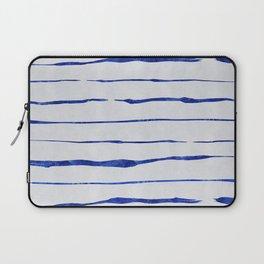 Blue Wiggly Stripes Pattern Laptop Sleeve