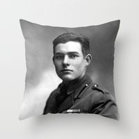 hemingway Throw Pillows featuring Ernest Hemingway in Uniform, 1918 by Limitless Design