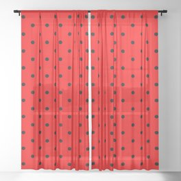 Dotted (Black & Classic Red Pattern) Sheer Curtain