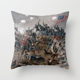 Vintage Lithograph of the Battle of Spotsylvania Throw Pillow