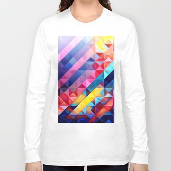 Geometric Abstract Rainbow Long Sleeve T-shirt