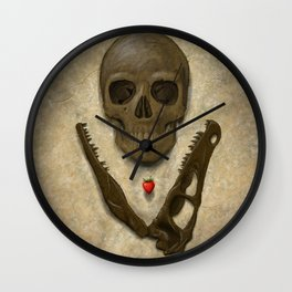 Impermanence - Velociraptor and Human Skull Wall Clock