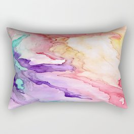 Color My World Watercolor Abstract Painting Rectangular Pillow