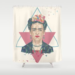 Pastel Frida - Geometric Portrait with Triangles Shower Curtain