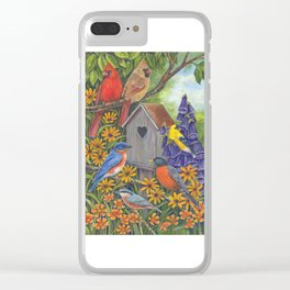 Birds and Birdhouse Clear iPhone Case
