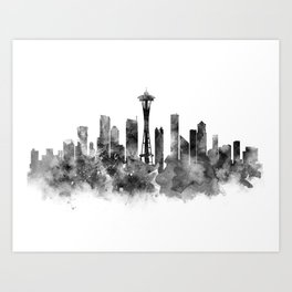Seattle Black and White Art Print
