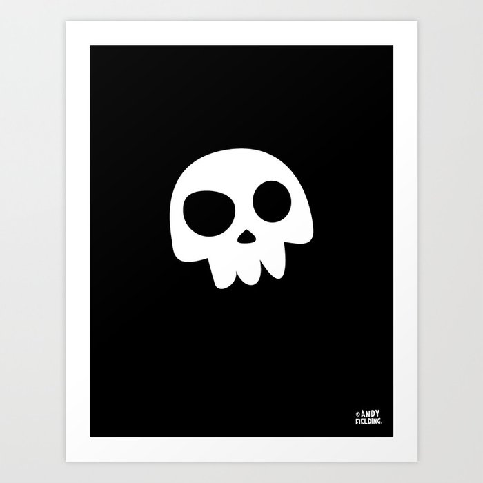 Skull Head logo with Three Teeth | Bones, white, pirates, symbolism, mortality, death, Halloween Art Print