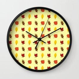 FALL LEAVES ON CREAM Wall Clock