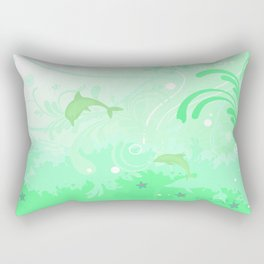 Dolphins Swimming Rectangular Pillow