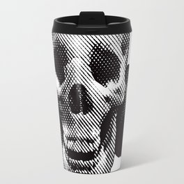 Hipster Skull Listening to Music on Headphones Travel Mug