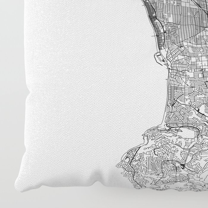 Los Angeles White Map Floor Pillow