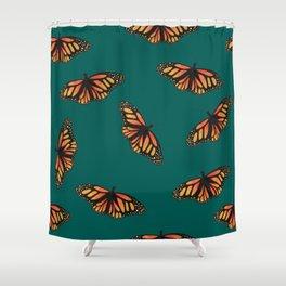 Green monarch Shower Curtain