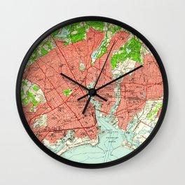 Vintage Map of Bridgeport Connecticut (1951) Wall Clock