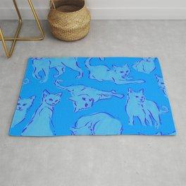 Cat Crazy blue Rug