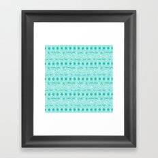 Lacey Lace - White Teal Framed Art Print